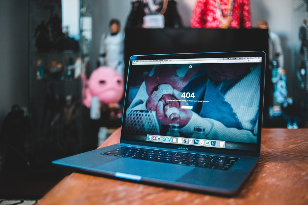 black and blue laptop computer