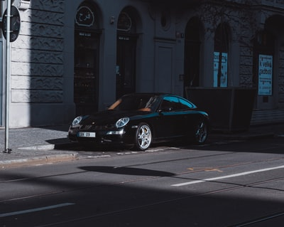 black porsche 911 parked near white concrete building during daytime czechia zoom background