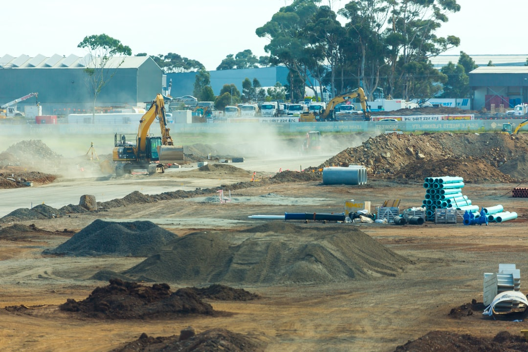 Roads construction at new industrial estate.