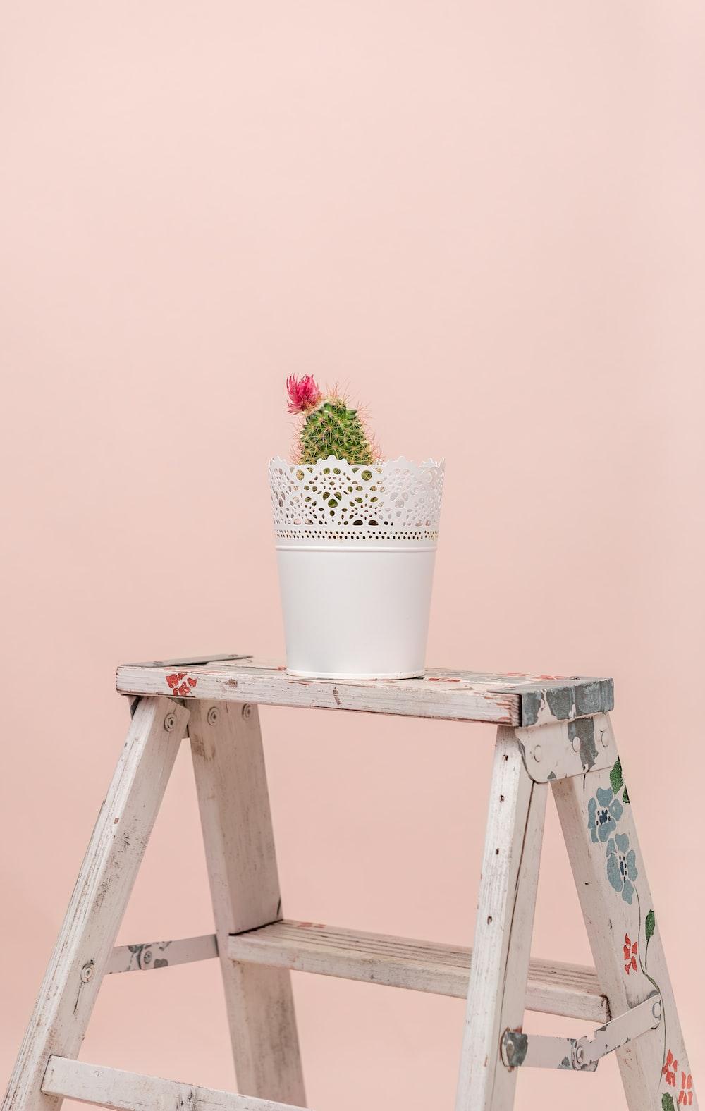white ceramic flower pot on brown wooden chair