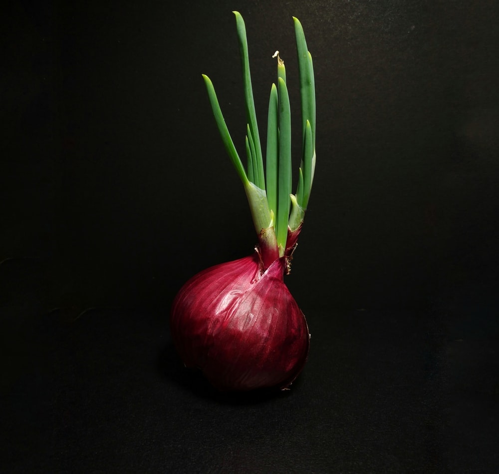 red onion on black table