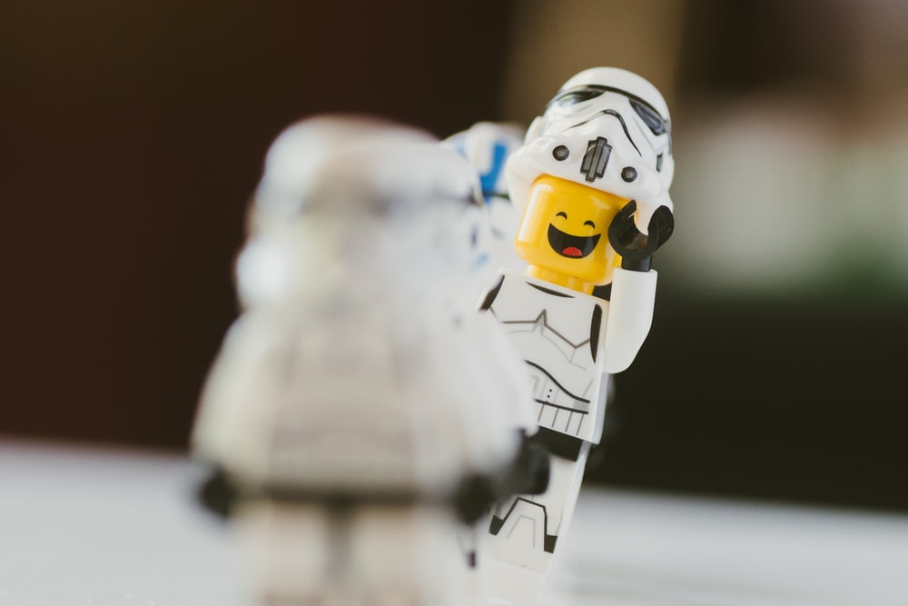 white lego minifig in macro photography