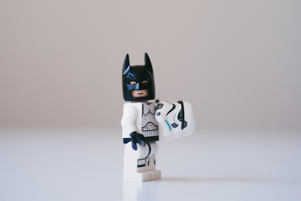 white and black robot toy