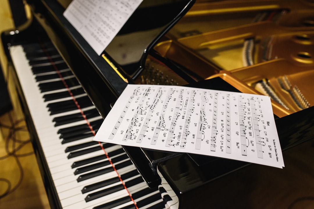 The notes on the grand piano.