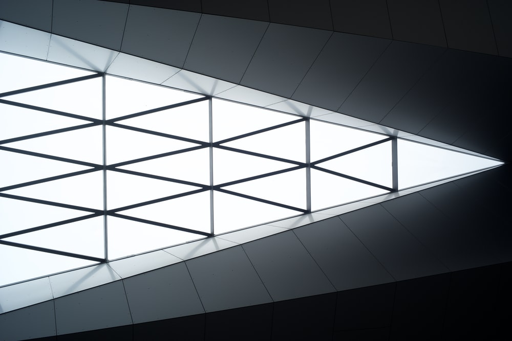 white and black checkered ceiling