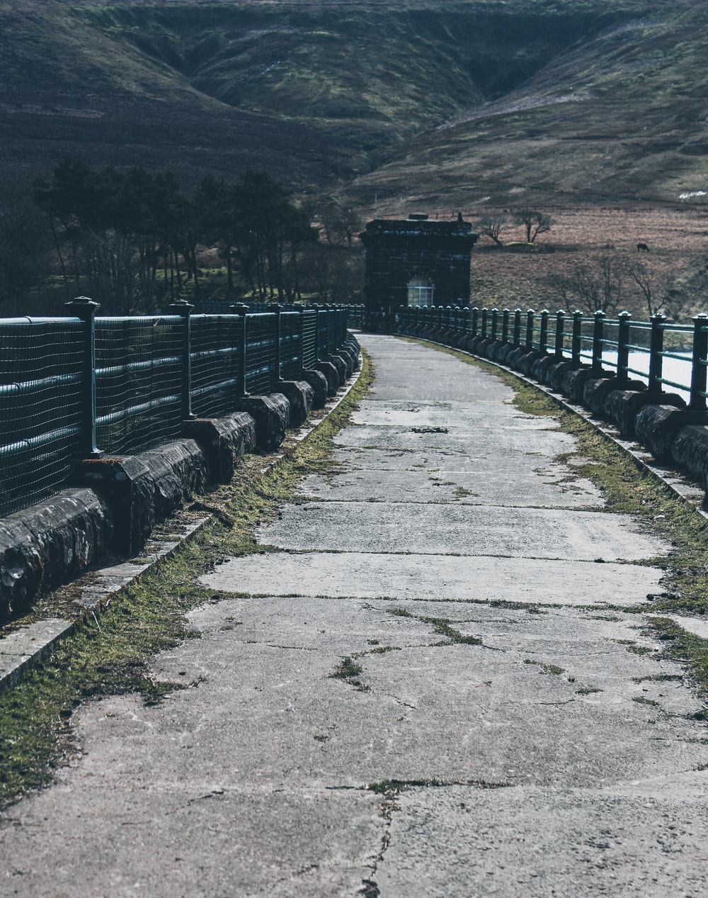 gray concrete road with gray metal fence