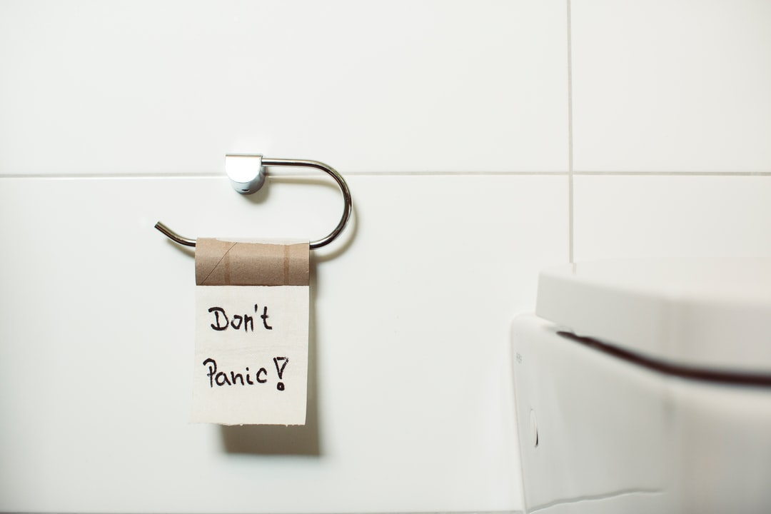 DONT' PANIC – WC toliet lavatory rest room –What the hell? Empty toilet paper? Hurry up for panic buying!