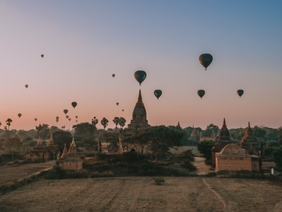 hot air balloons in the sky during sunset myanmar zoom background