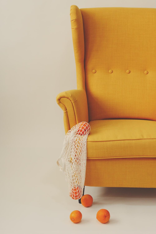 yellow and white sofa chair
