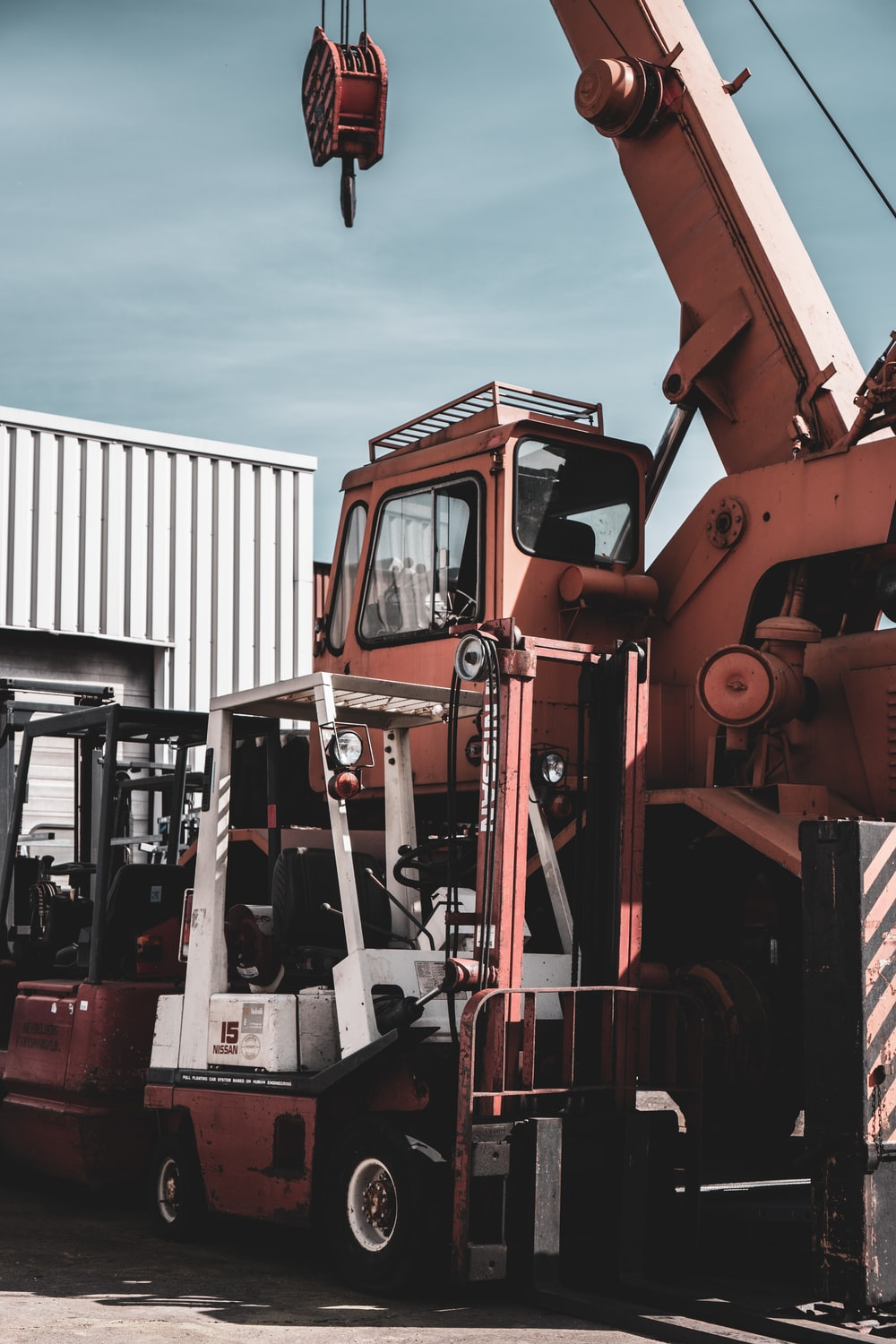 red and black heavy equipment