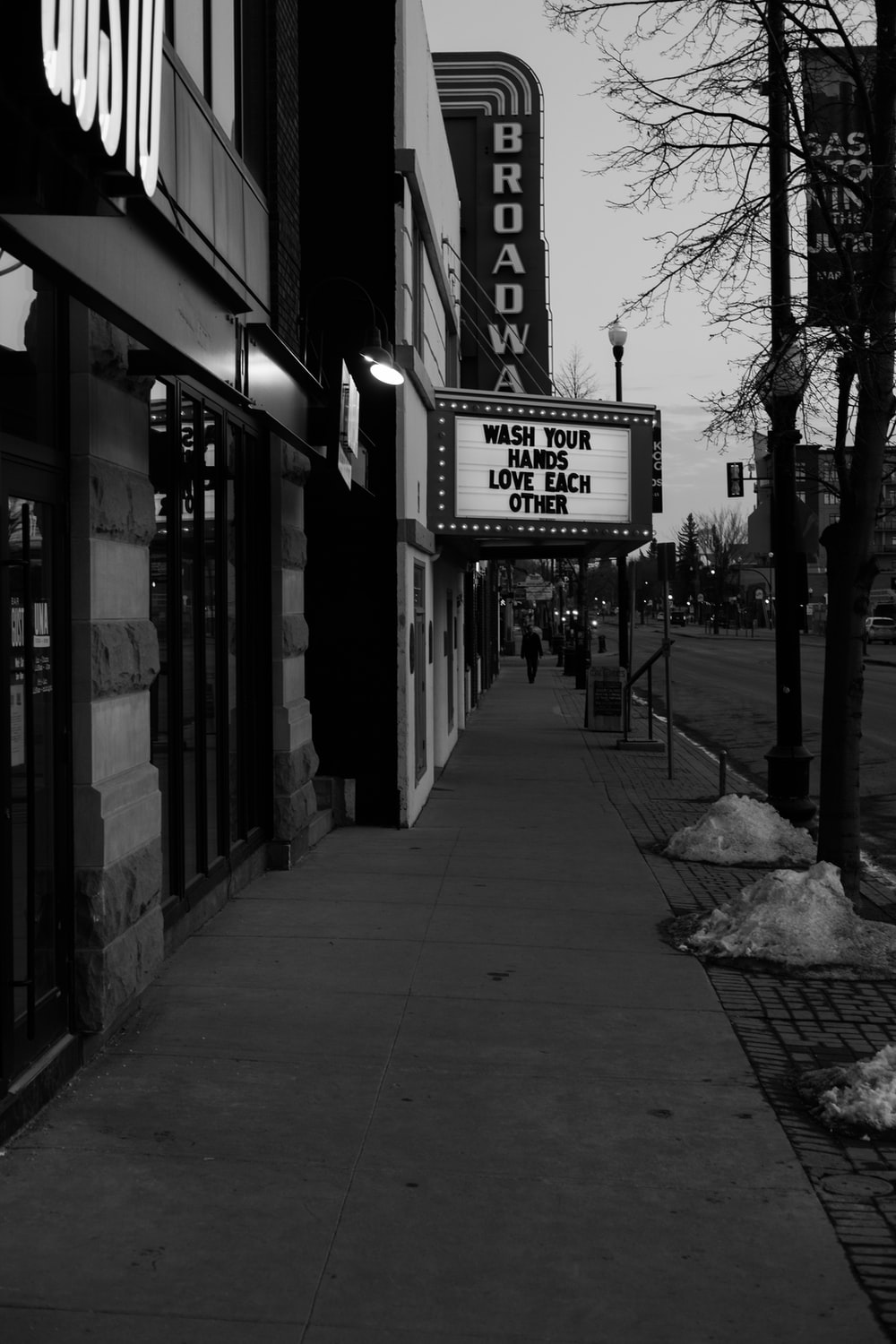 grayscale photo of UNK store