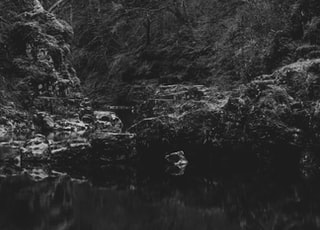 grayscale photo of person sitting on rock near river