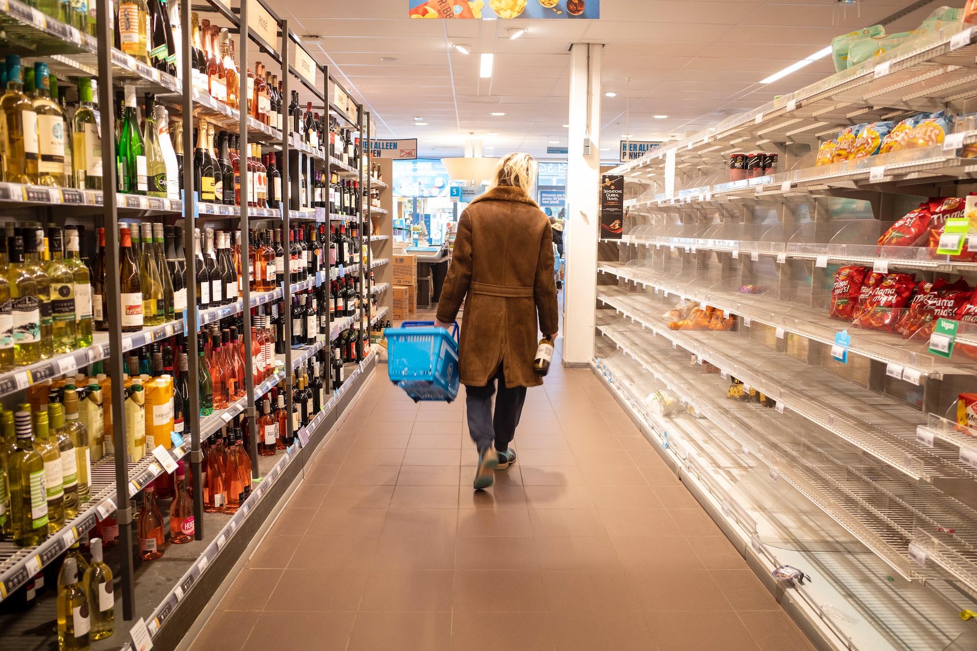Empty supermarket shelves due to stockpiling because of Corona Virus.