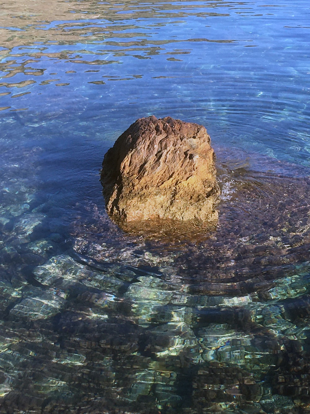 brown rock in the middle of water