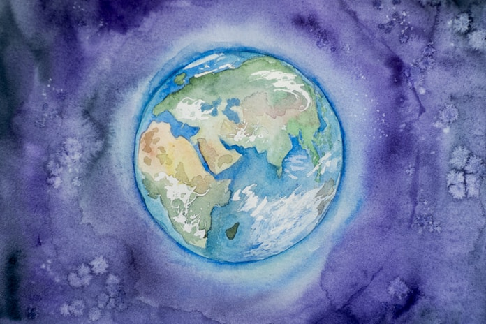Planet Earth (Africa, Europa, Asia) painted by watercolor