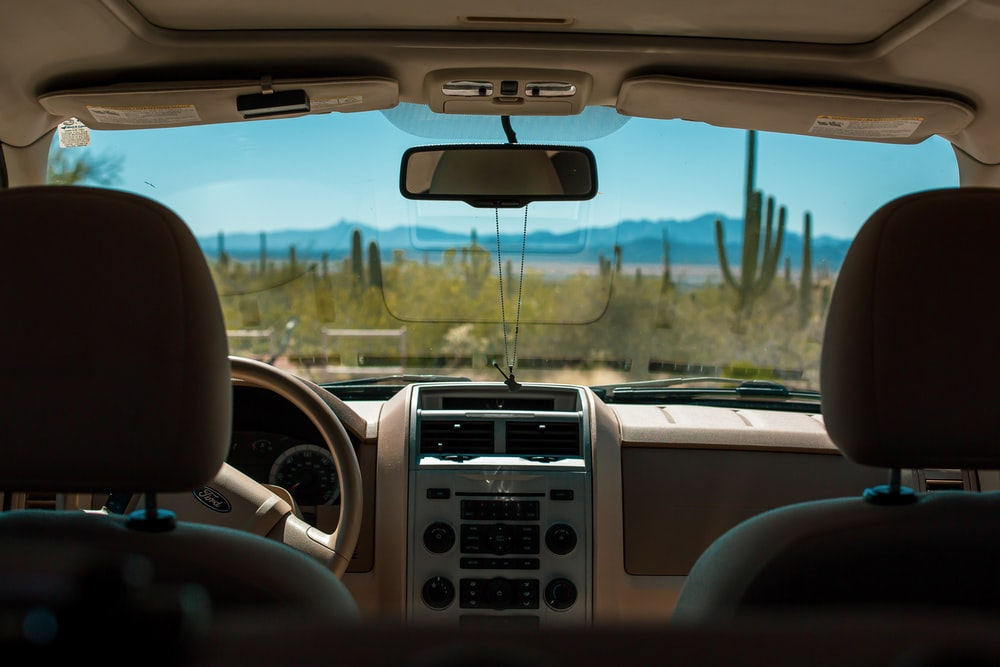 black and gray car interior