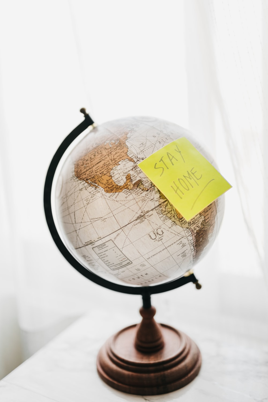 brown and black desk globe