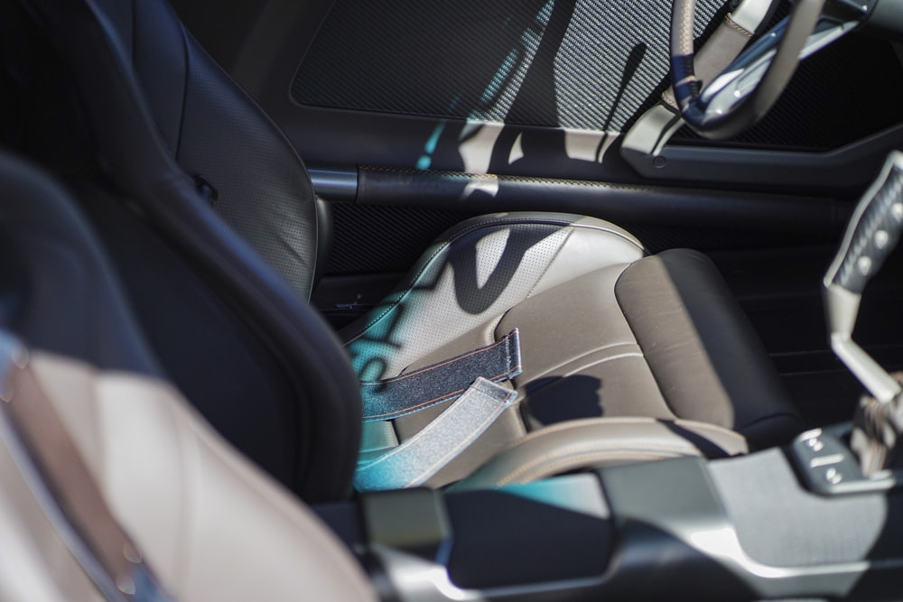 black and gray car seat