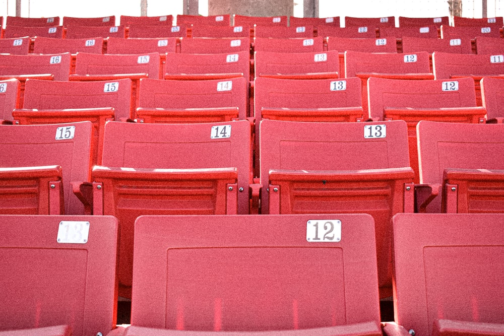 red plastic chairs with no people