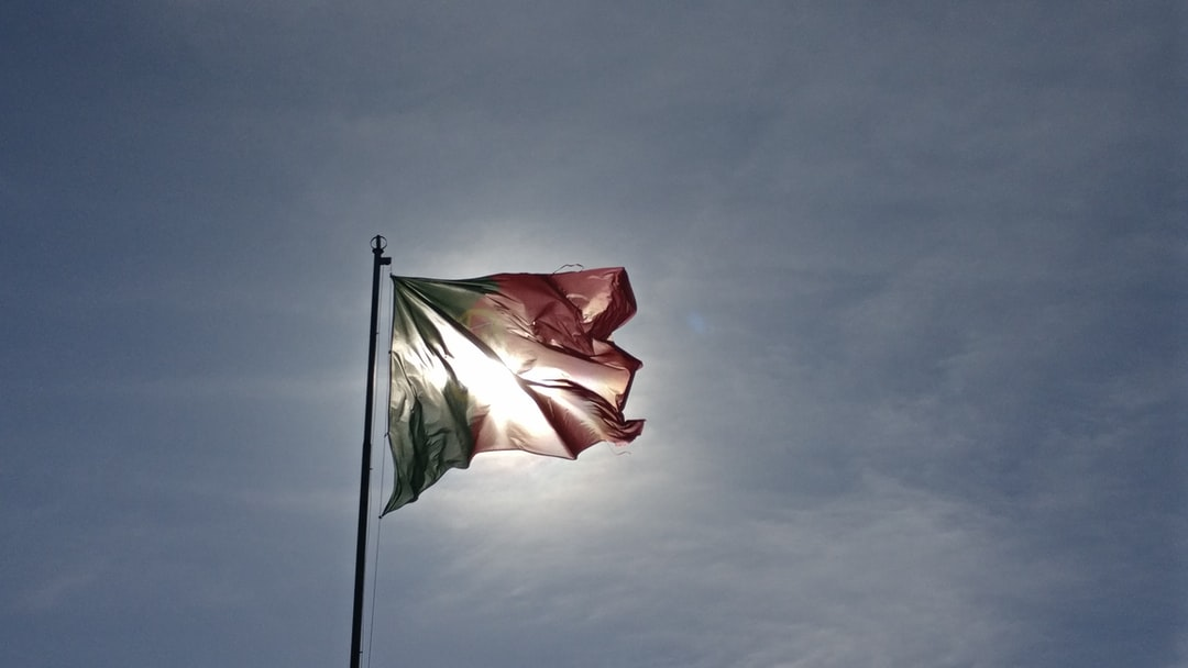 The Castle of Silves. Portuguese flag against the afternoon sun