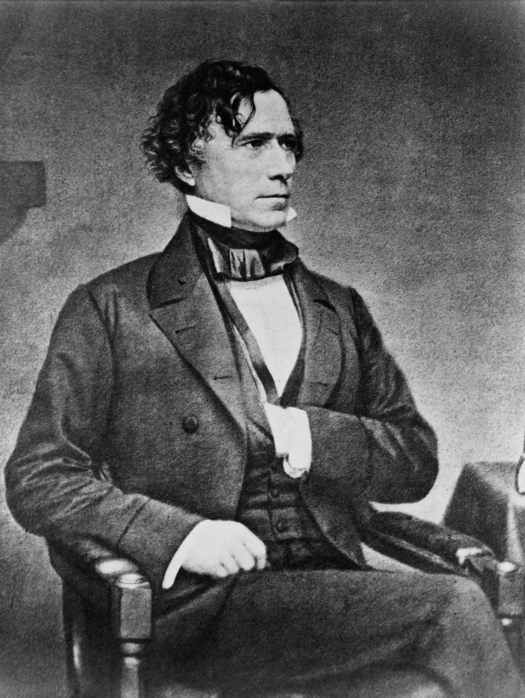[President Franklin Pierce, three-quarter length portrait, seated, facing right, with left hand inside vest]. Photograph from the Brady-Handy Collection, [between 1855 and 1865, printed later]. Library of Congress Prints & Photographs Division. https://www.loc.gov/resource/cph.3a53287/