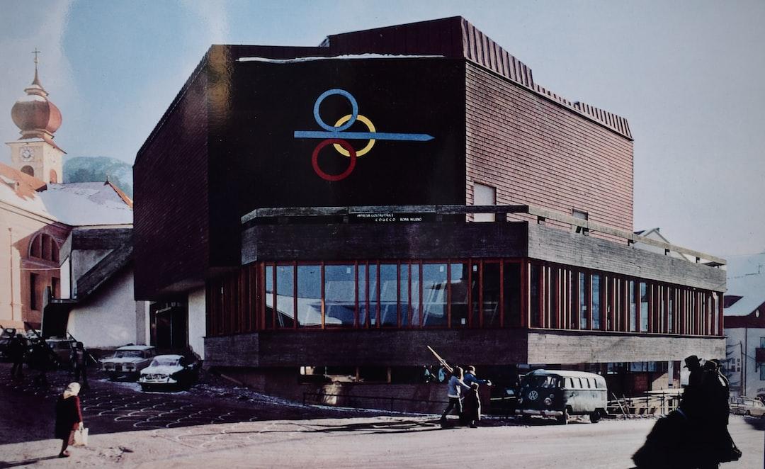 1970: the press center (later Congress Centre) of the alpine ski world championship im St. Ulrich Ortisei Val Gardena Südtirol in the Italian Alps.