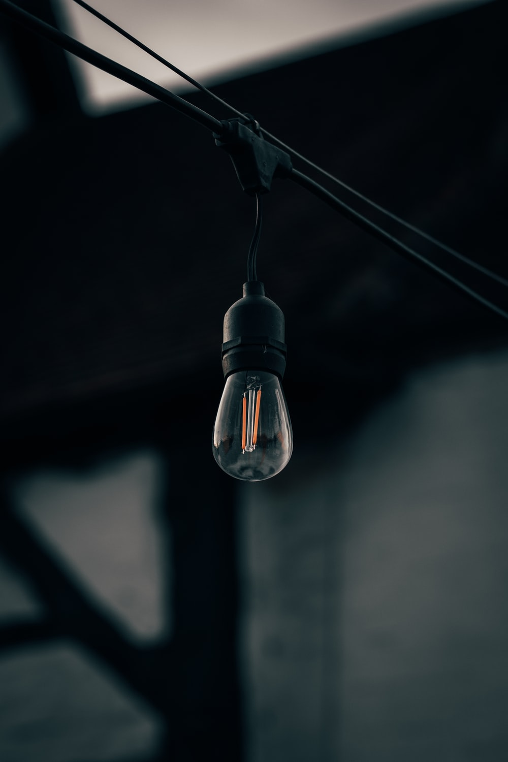 black and silver pendant lamp