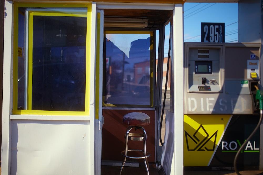yellow and white train door