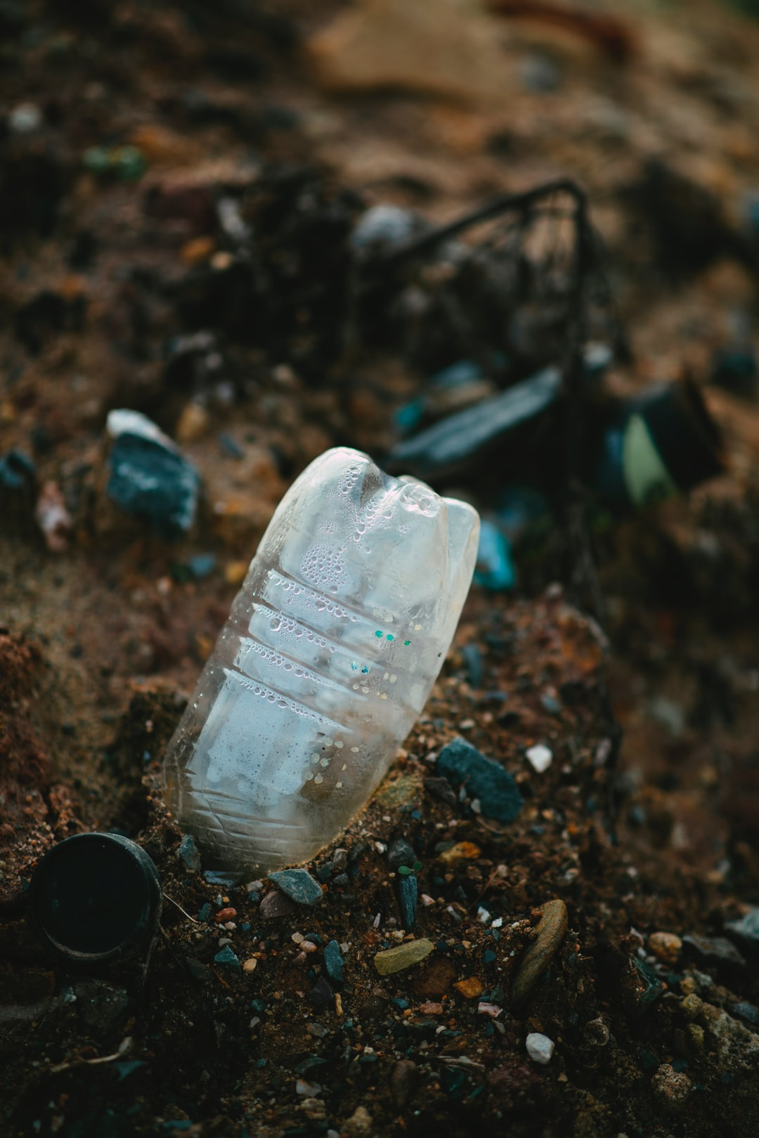 Plastic waste bottle pollution of the environment