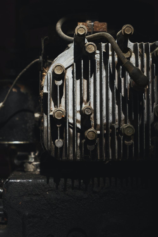 black and silver vintage car