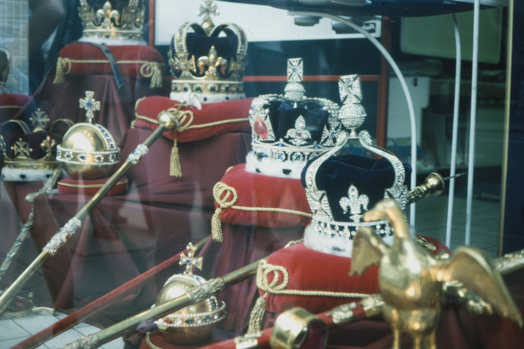 Store window display on The Stand, London, to celebrate the Marriage of Prince Charles and Princess Diana, 1981. 1980s 35mm film slide photo