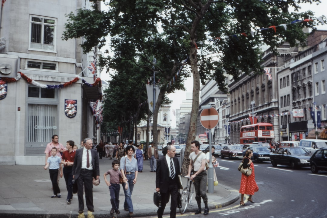 Street scene, London, to celebrate the Marriage of Prince Charles and Princess Diana, 1981. 1980s 35mm film slide photo