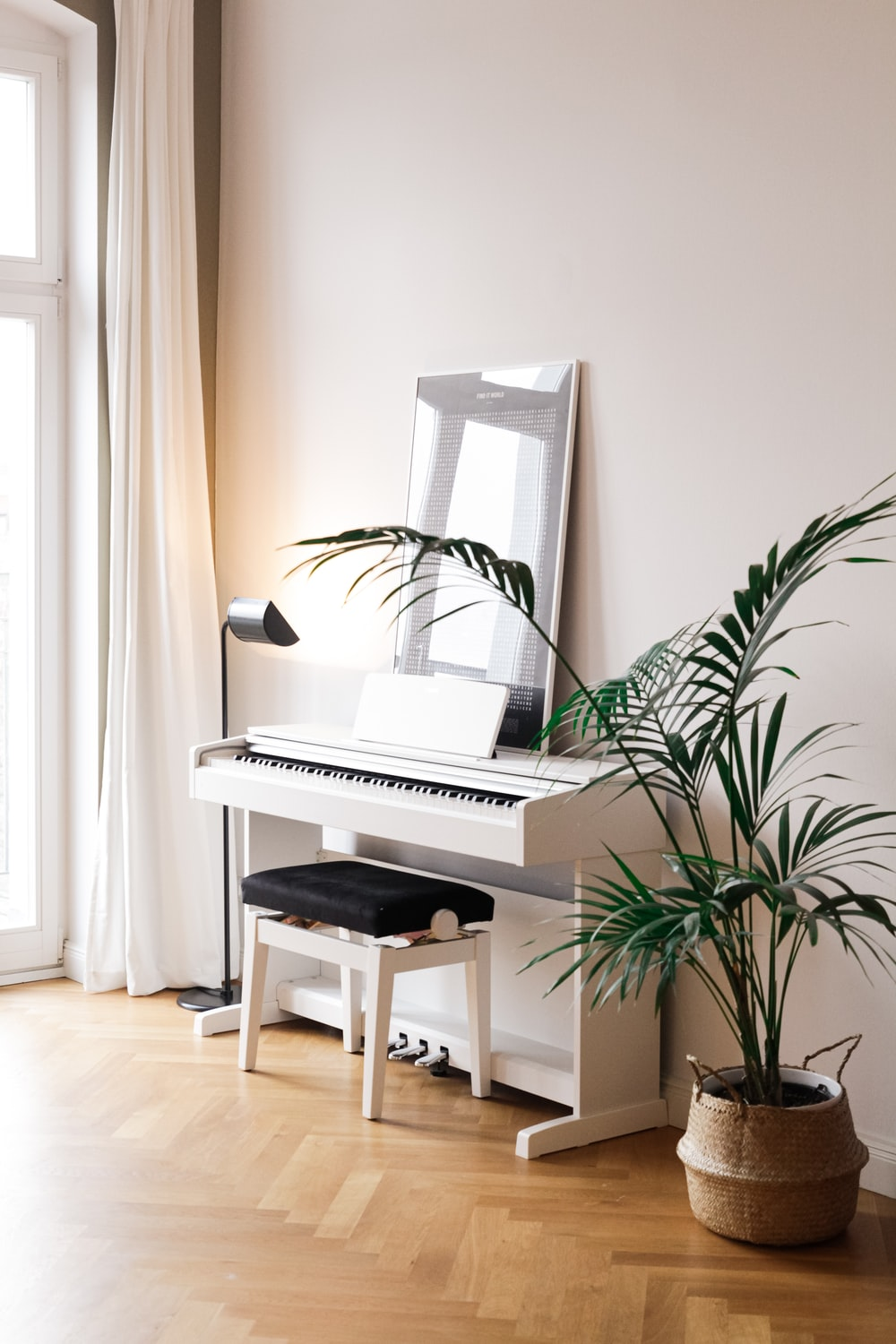 black and white piano near green indoor plant