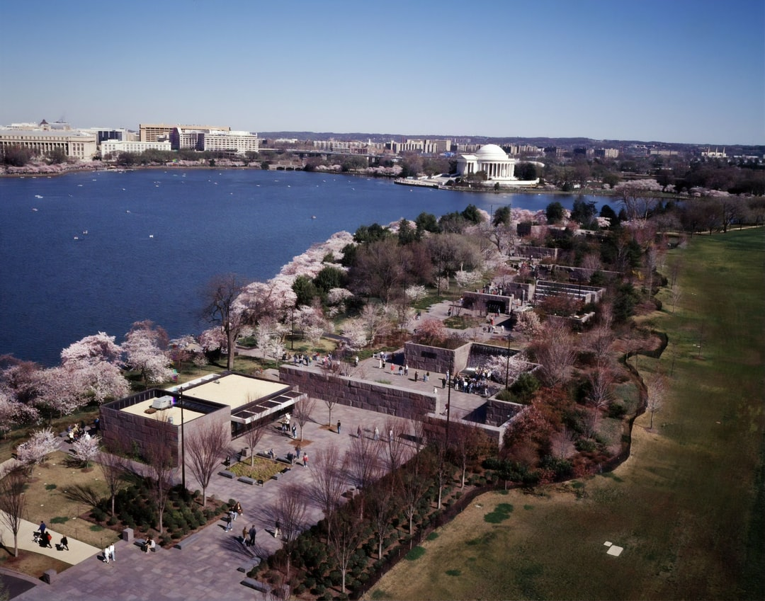 Aerial view of Washington, D.C., showing the FDR Memorial in the foreground at Cherry Blossom Festival time. Color transparency by Carol M. Highsmith, [between 1980 and 2006]. Library of Congress Prints & Photographs Division. https://www.loc.gov/resource/highsm.14351/