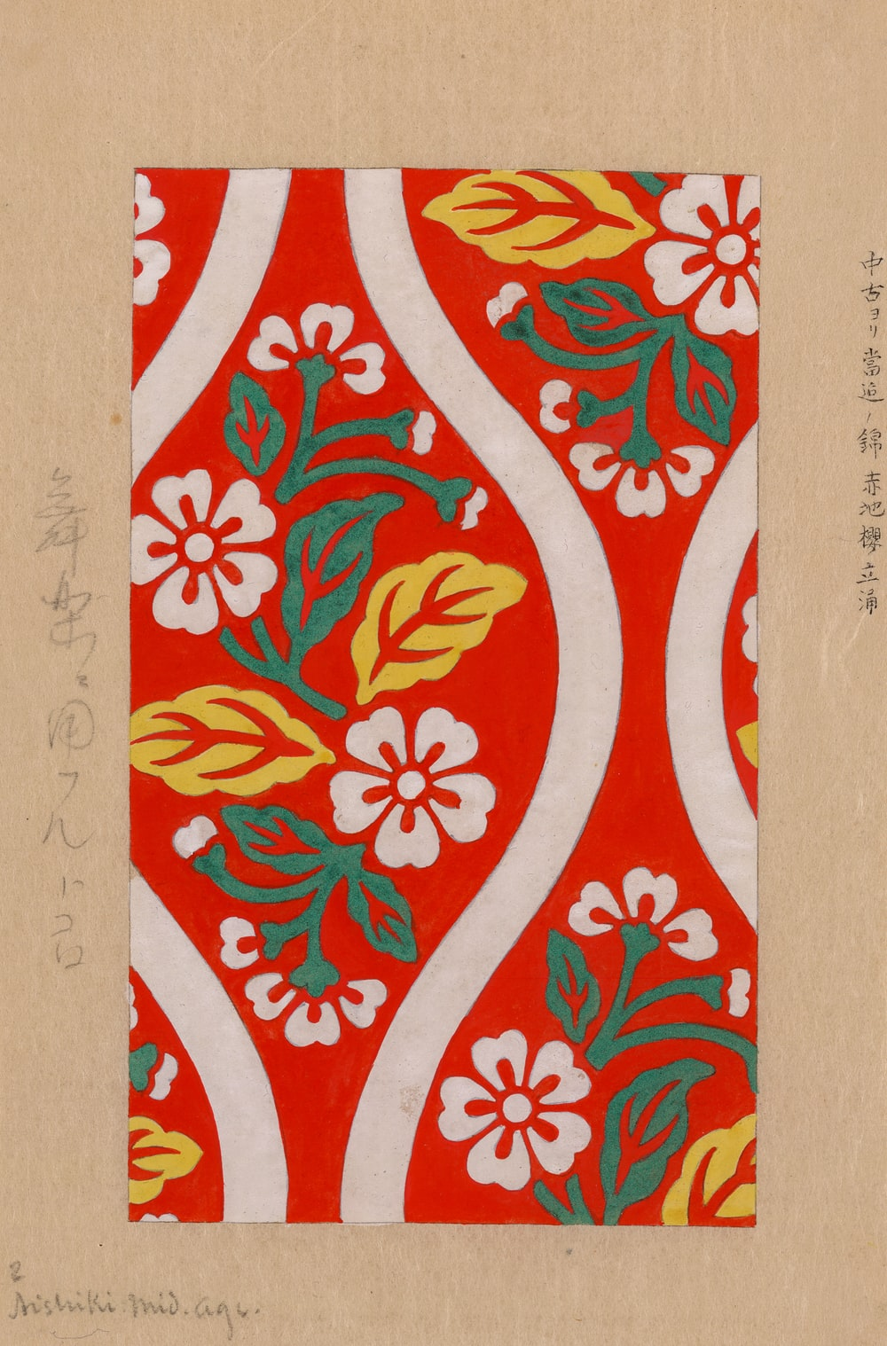 Nishiki brocade with cherry blossoms and wave designs on red background