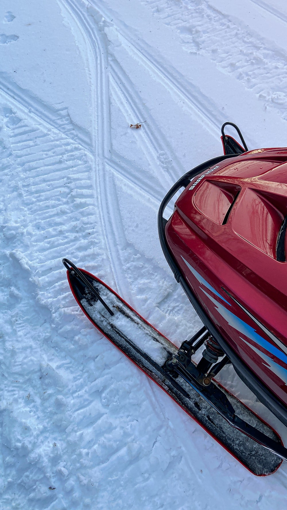 red and black snow sled on snow covered ground during daytime