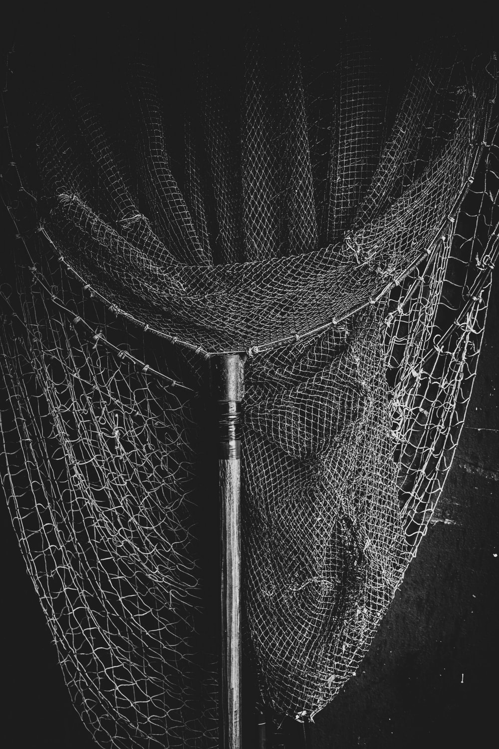 black and white photo of a net