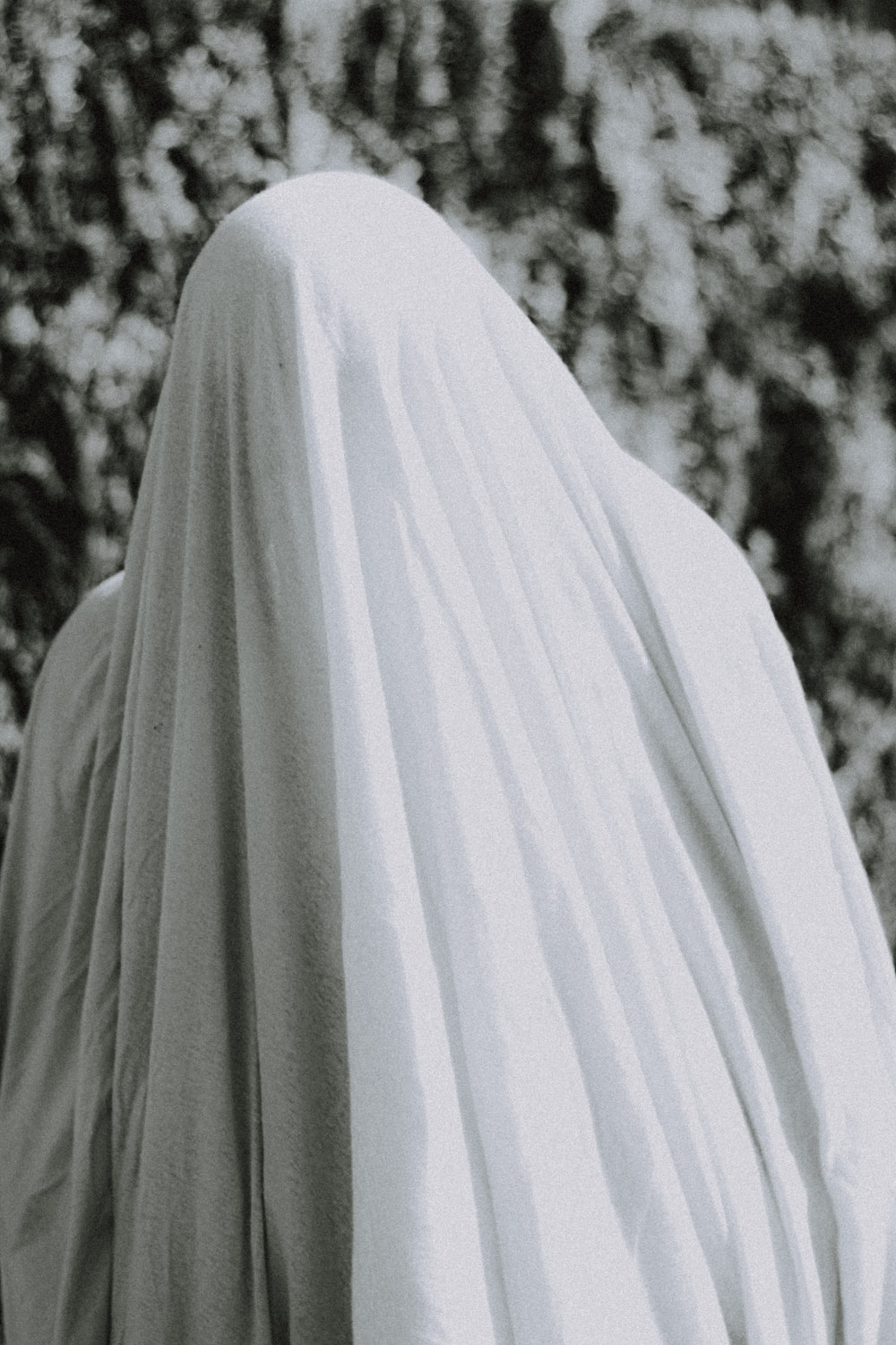 person in white hijab standing near trees