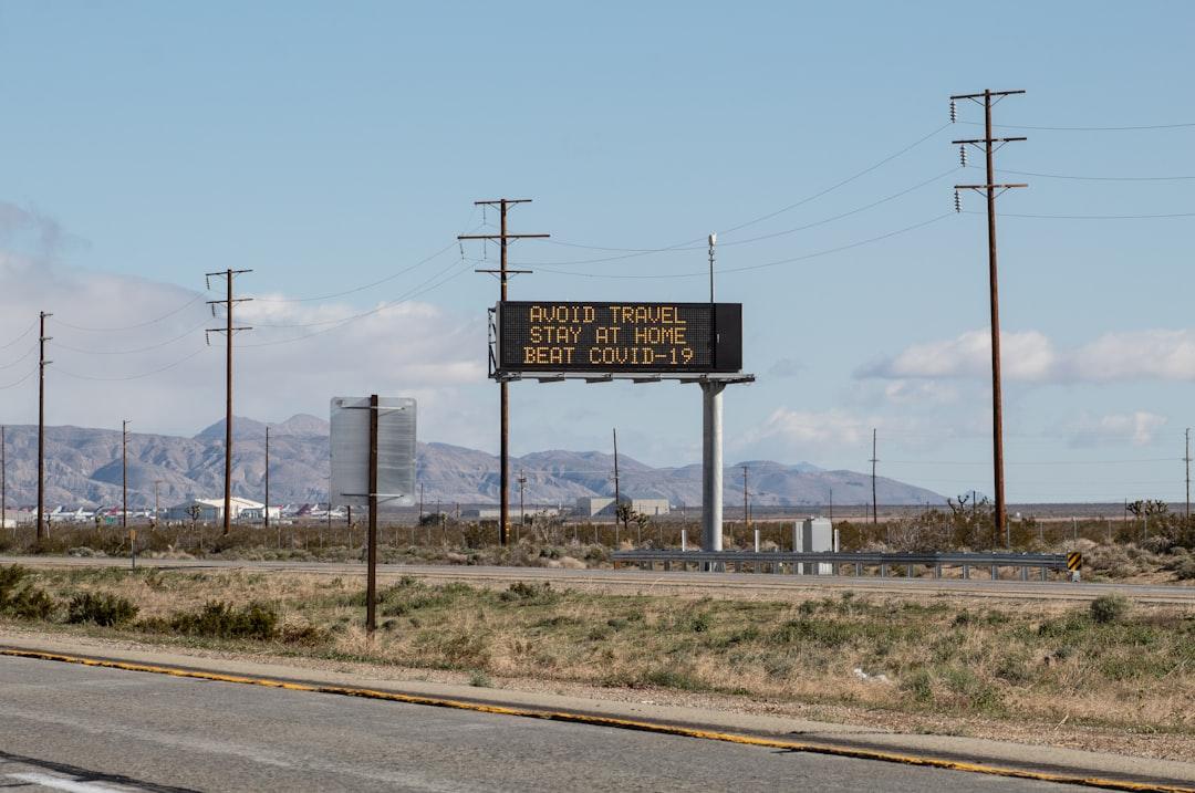 Cal Trans Electronic Display Message, Kern County, CA, USA for Coronavirus COVID-19.