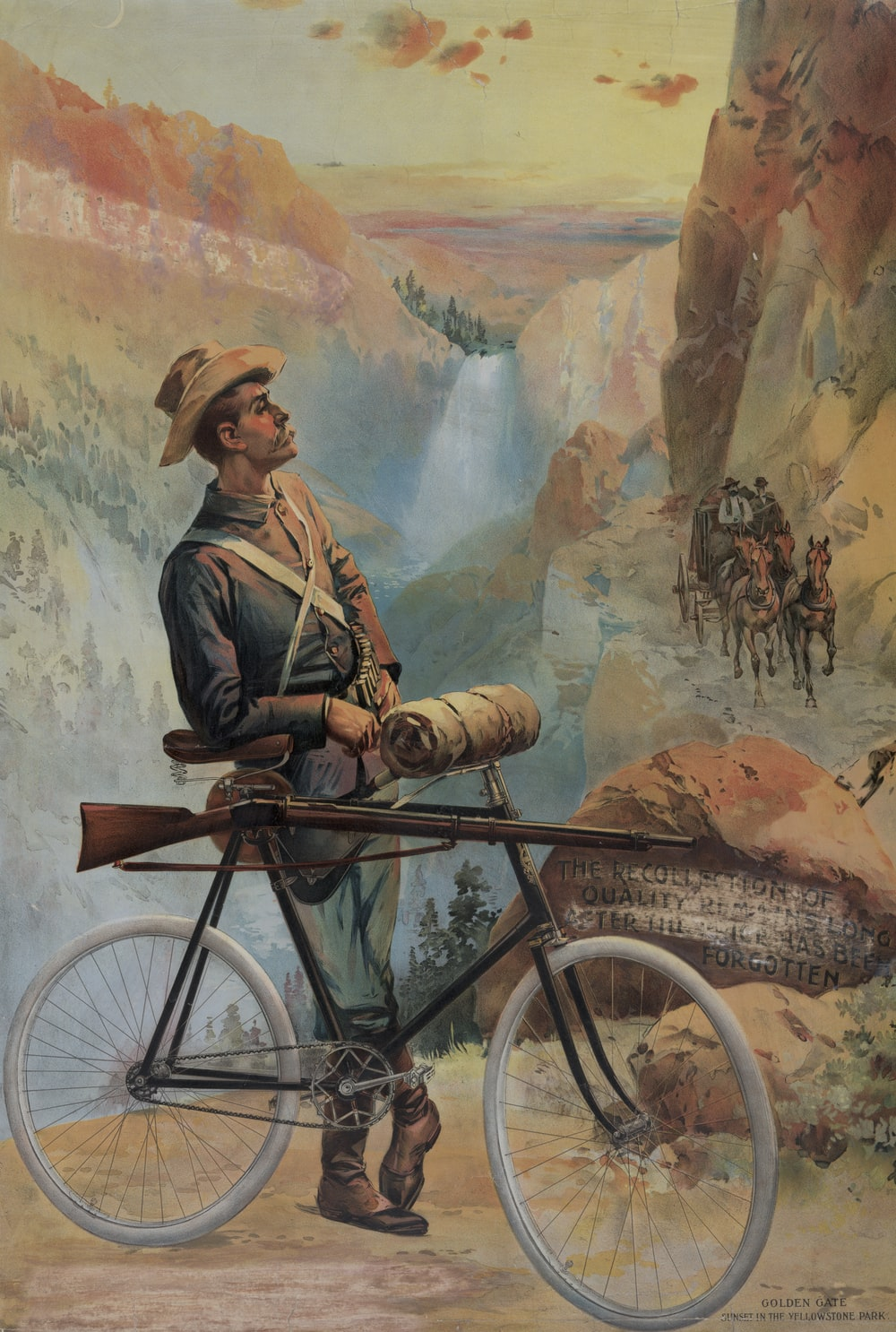 Man, with a bicycle to which a rifle is fastened, standing on a mountain path