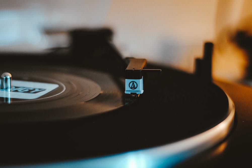 black and gray vinyl record player