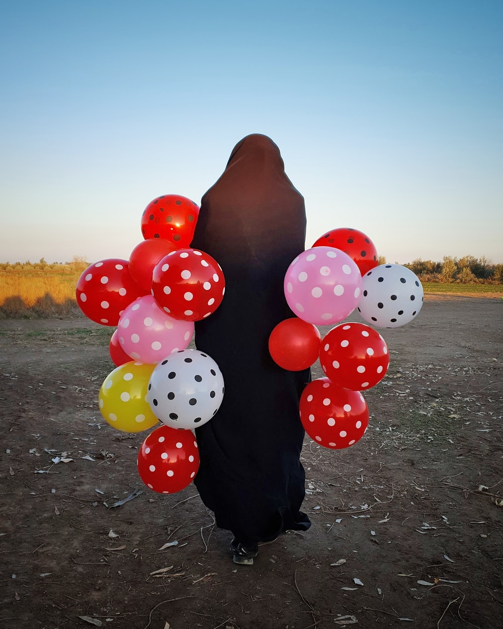 person holding red and white polka dot balloons