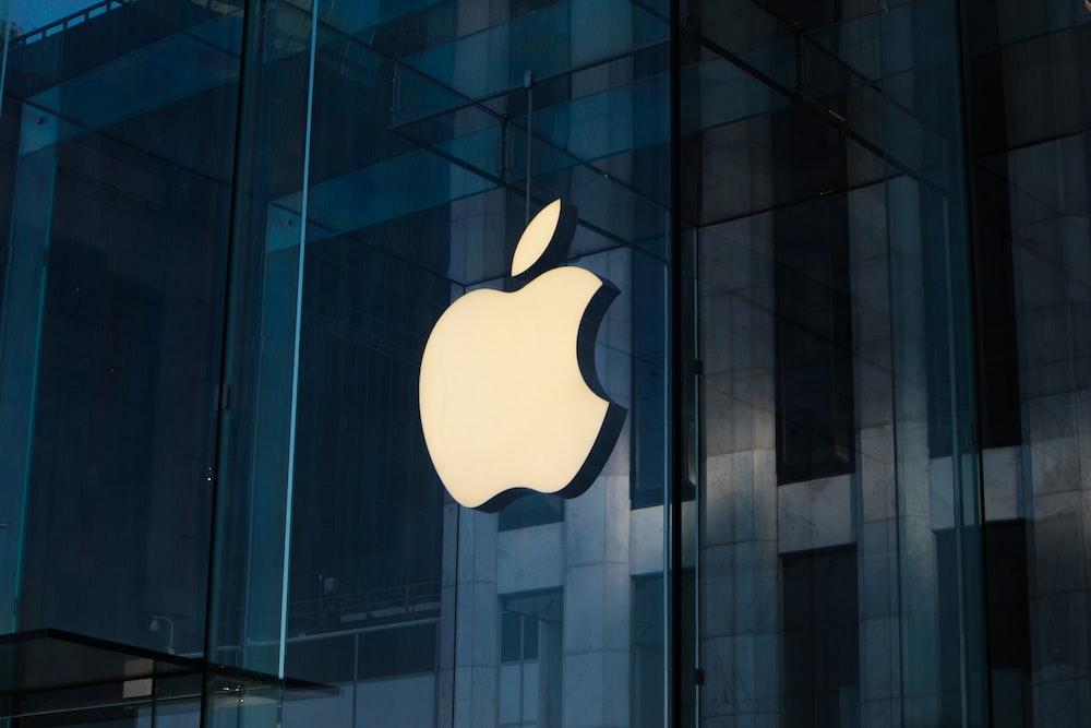 apple logo on glass window