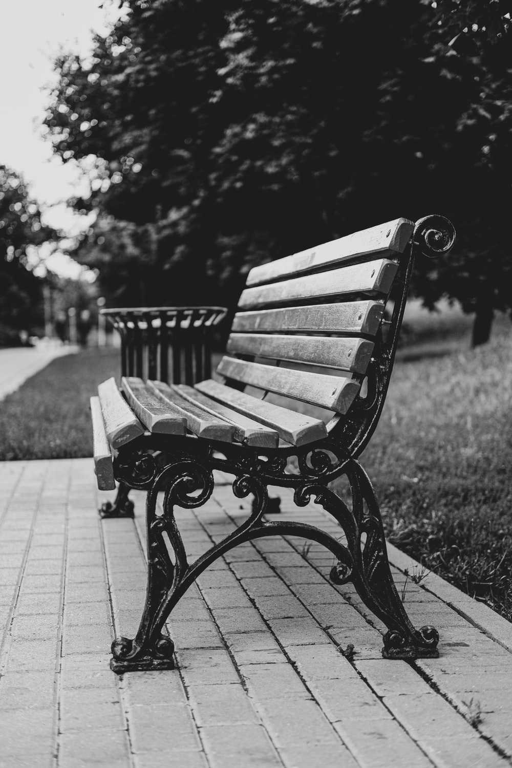 grayscale photo of wooden bench