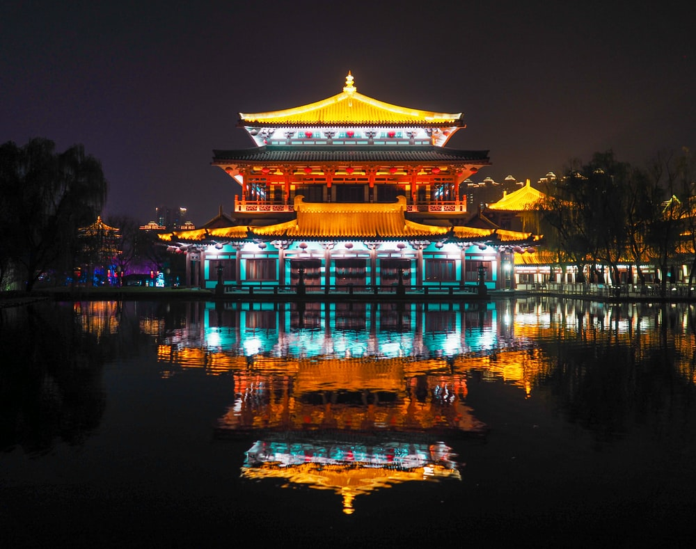 brown and white temple near body of water during night time