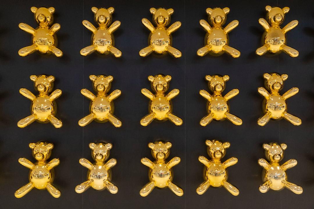 Golden teddy bears that were part of a shop display at the Burj Khalifa Shopping Mall, Dubai.