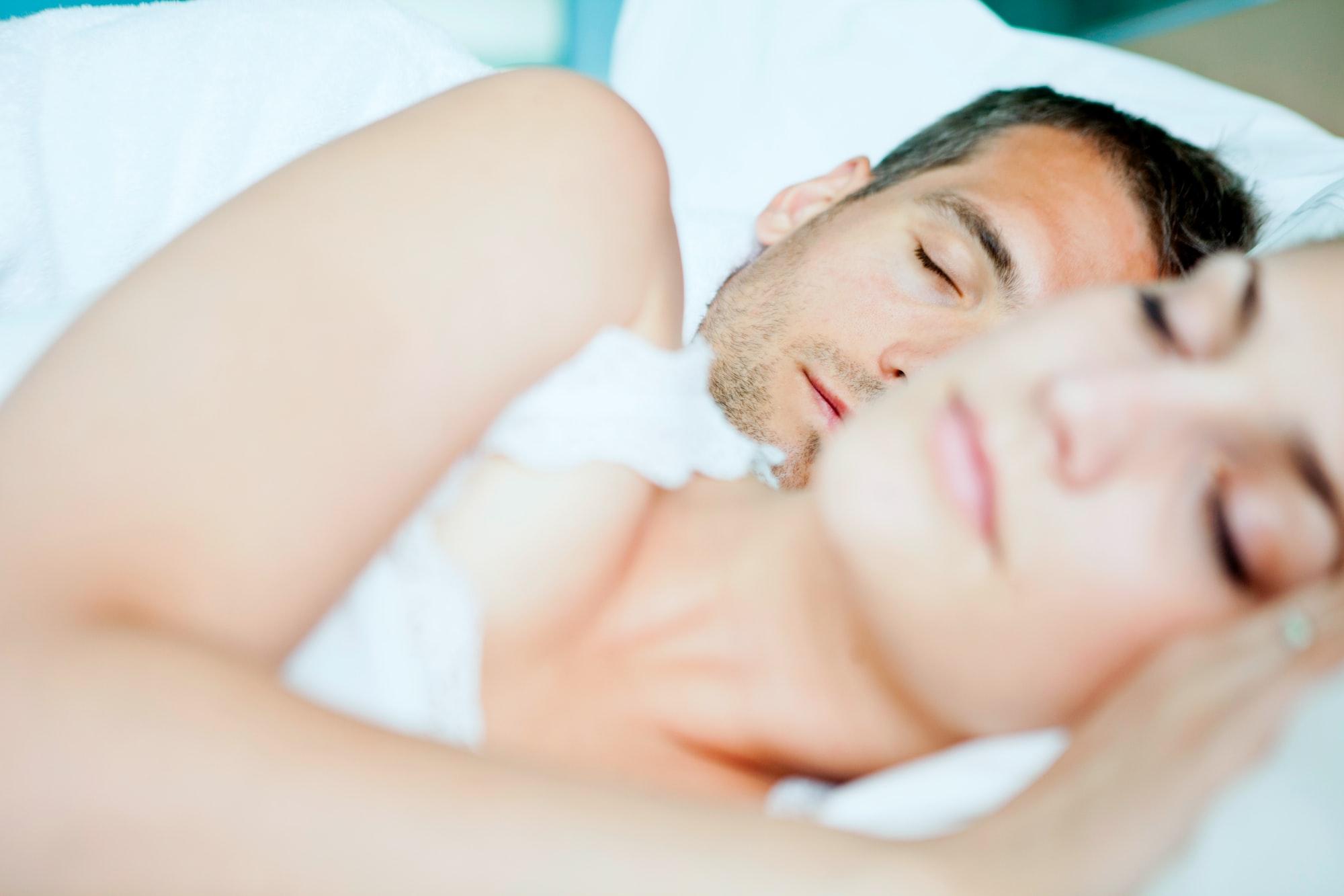 Sleeping together on white bedsheets, taking melatonin while breastfeeding