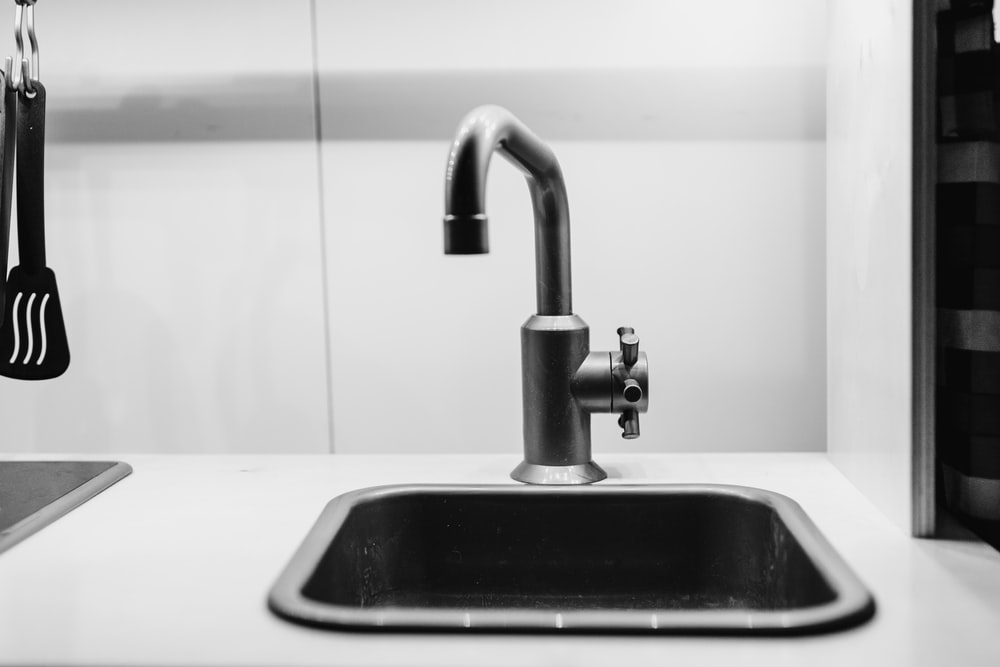 stainless steel faucet on sink