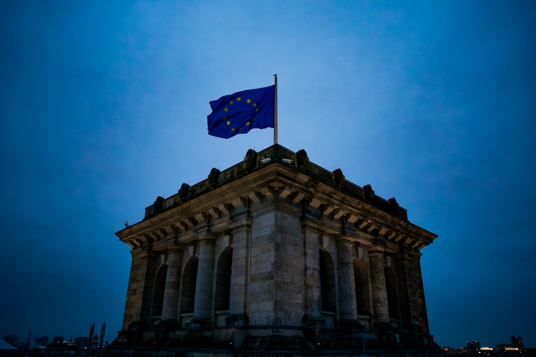 Flag of European Union on top of German Reichstag