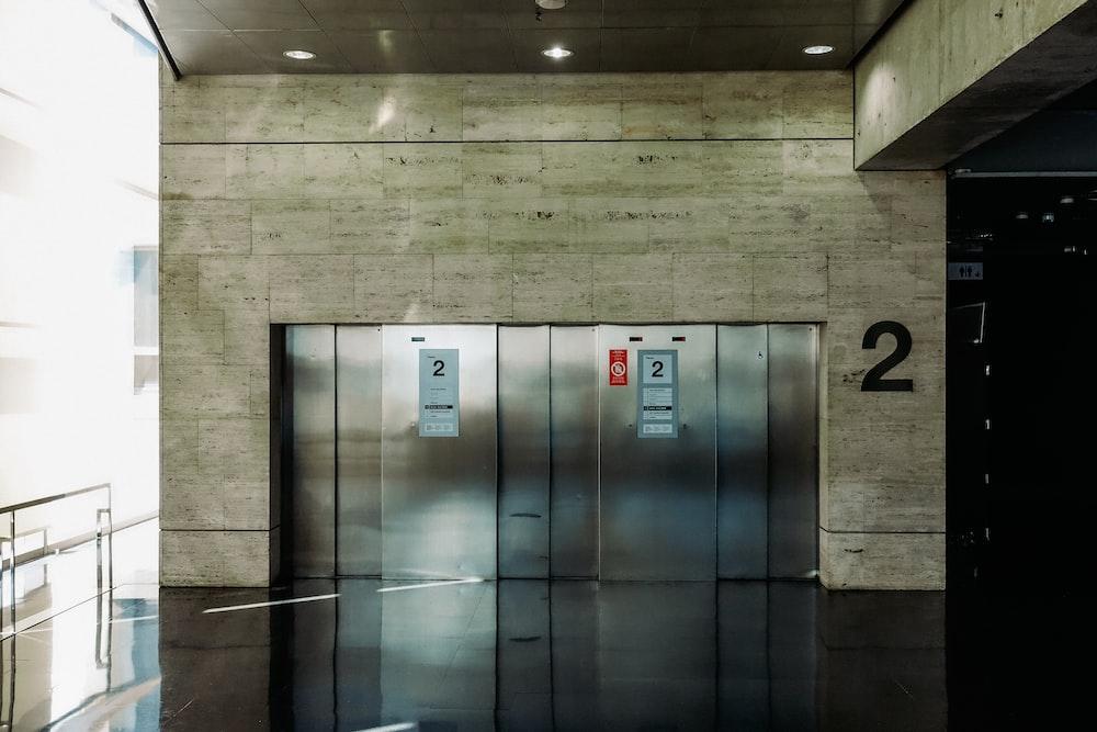 gray metal elevator door closed